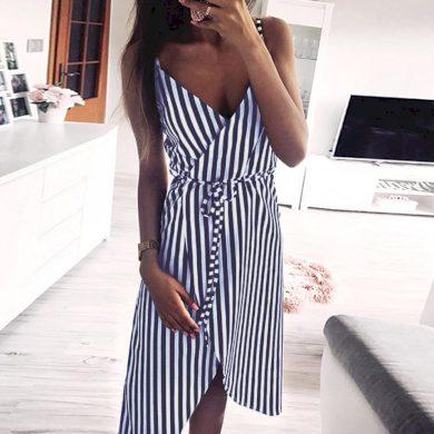 Zavinovací dámské pruhované šaty FashionEU