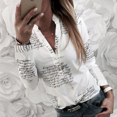 Dámská bílá košile s nápisy FashionEU