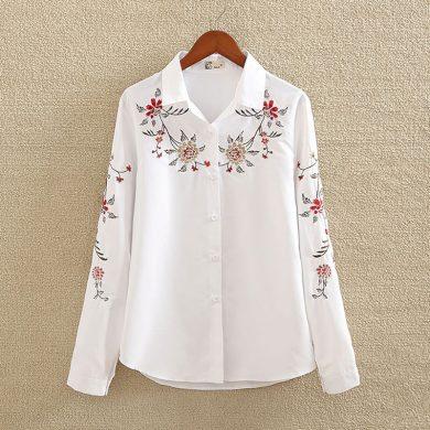 Dámská bílá košile s květinami FashionEU