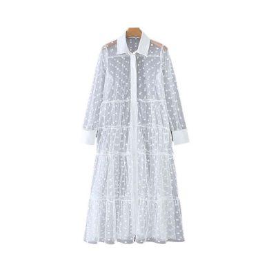 Průsvitné košilové šaty FashionEU