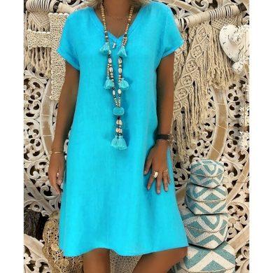 Jednobarevné tunikové šaty FashionEU