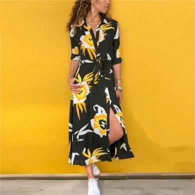 Košilové šaty s květinovým potiskem FashionEU