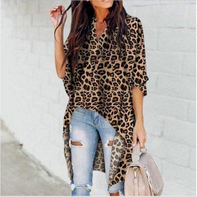 Dlouhá halenka s leopardím vzorem FashionEU