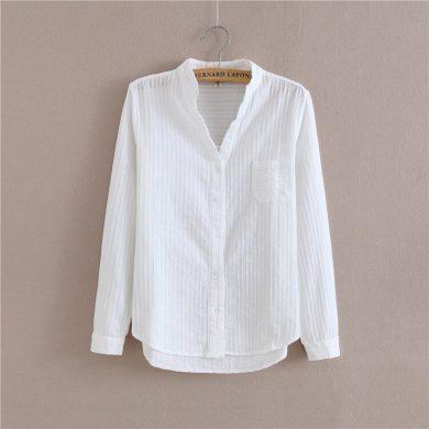 Dámská bílá košile s dlouhým rukávem FashionEU