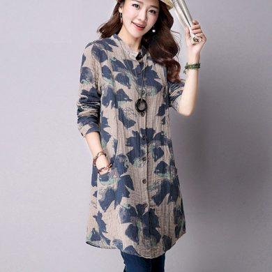 Dámská dlouhá košile s potiskem květin FashionEU