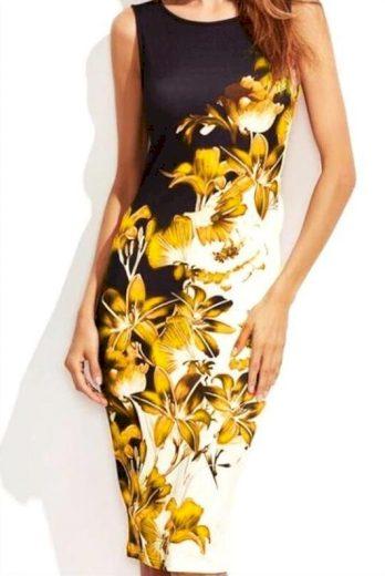 Pouzdrové šaty s potiskem květin FashionEU