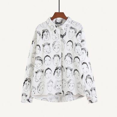Dámská košile s potiskem obličejů FashionEU