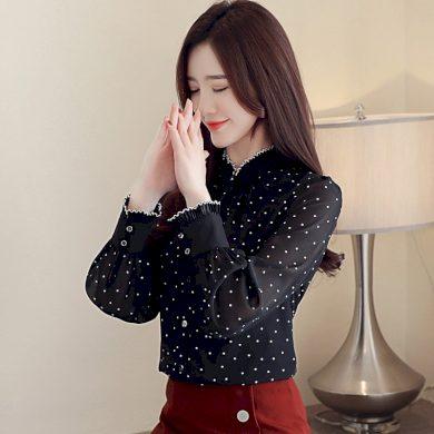 Dámská puntíkovaná košile s dlouhým rukávem FashionEU