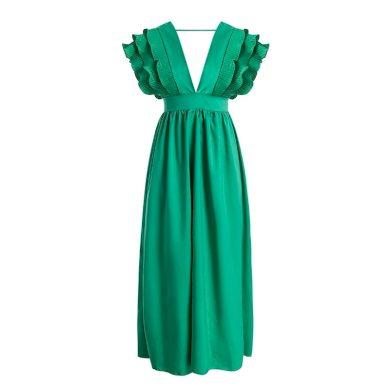 Dlouhé večerní šaty s volány FashionEU