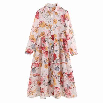 Košilové šaty s květinami FashionEU