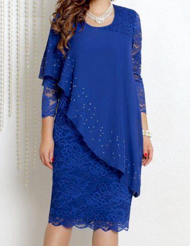 Asymetrické šaty s krajkou FashionEU