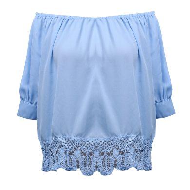 Dámská modrá halenka s odhalenými rameny FashionEU