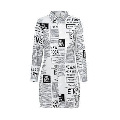 Dámská dlouhá košile s nápisy FashionEU