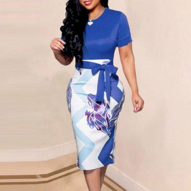 Dámské pouzdrové šaty s mašlí FashionEU