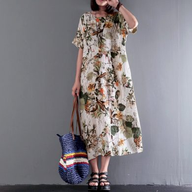Bavlněné maxi šaty s květy FashionEU