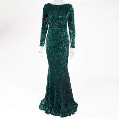 Dlouhé večerní flitrové šaty FashionEU