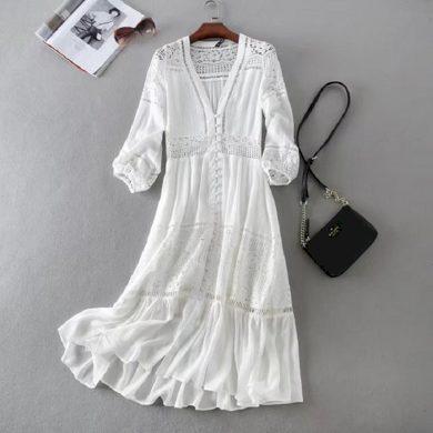 Bílé letní boho šaty FashionEU