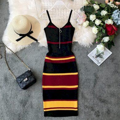 Pruhované pouzdrové šaty FashionEU