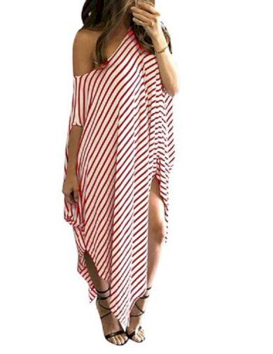 Asymetrické maxi šaty pruhované FashionEU
