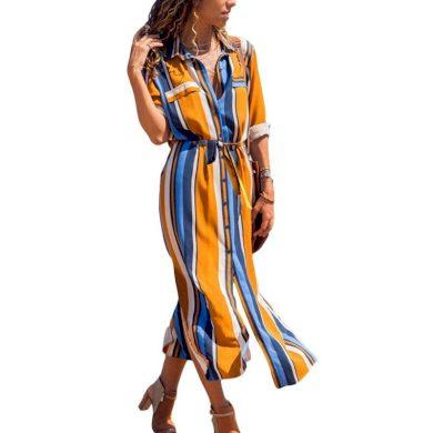 Pruhované šaty košilové FashionEU