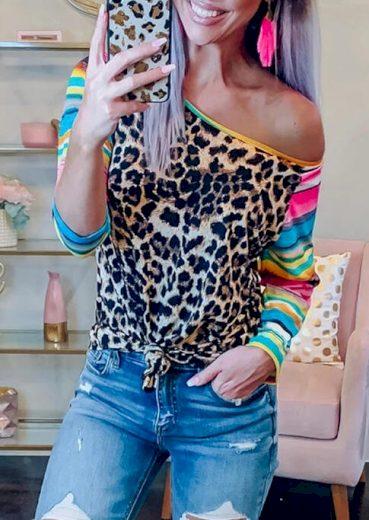 Dámské tričko s leopardím vzorem B127 FashionEU