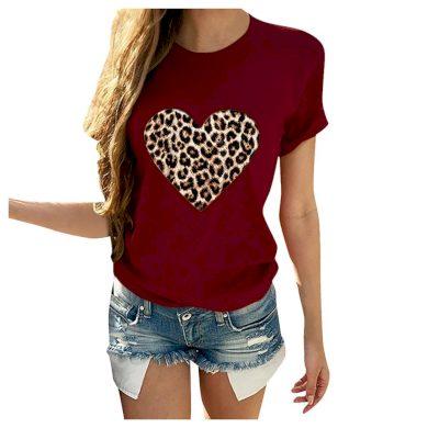 Dámské tričko s leopardím srdcem FashionEU