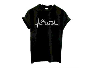 Dámské tričko s potiskem tepu a psí tlapky - 3 barvy FashionEU