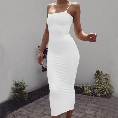 Dlouhé dámské šaty na ramínka FashionEU