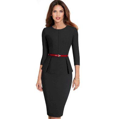 Společenské šaty s páskem FashionEU