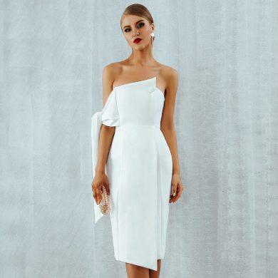 Společenské šaty se spadlými rameny FashionEU