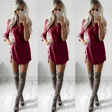 Košilové mini šaty FashionEU