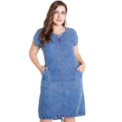 Džínové šaty v nadměrných velikostech FashionEU