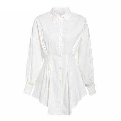 Košilové mini šaty s dlouhým rukávem FashionEU
