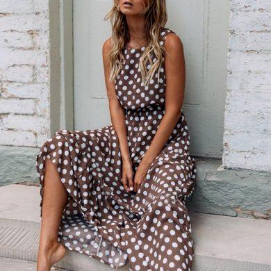 Puntíkované maxi šaty FashionEU