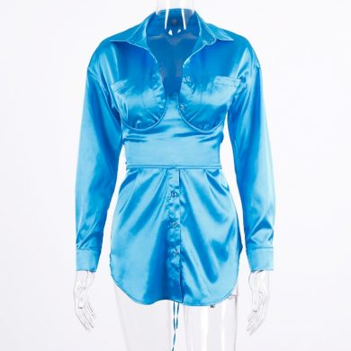Košilové mini šaty s výstřihem FashionEU
