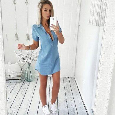 Košilové mini šaty s límečkem FashionEU