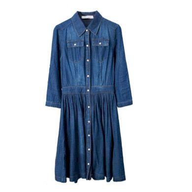 Propínací džínové šaty FashionEU