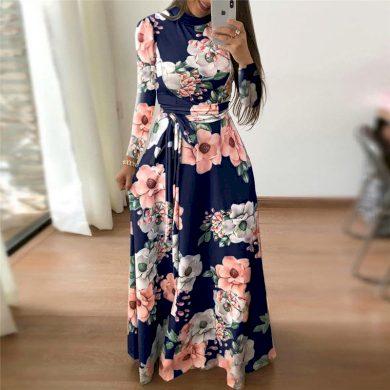 Podzimní květinové maxi šaty FashionEU