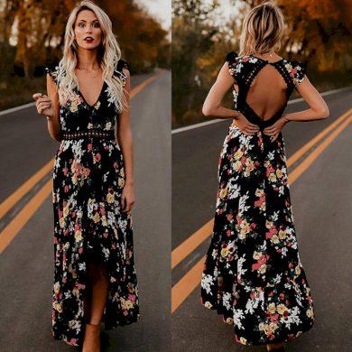 Dlouhé květinové boho šaty FashionEU