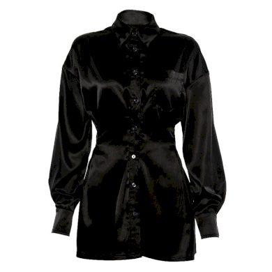 Černé košilové mini šaty FashionEU