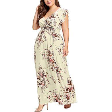 Květinové maxi šaty nadměrné velikosti FashionEU