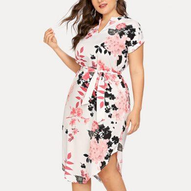 Květované šaty nadměrné velikosti FashionEU