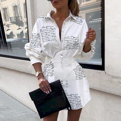 Elegantní košilové mini šaty FashionEU