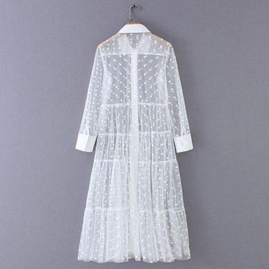 Košilové maxi šaty průsvitné FashionEU