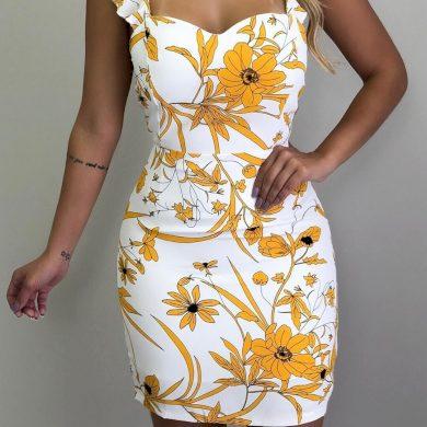 Krátké květované šaty FashionEU