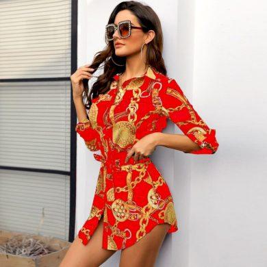 Mini šaty košilové FashionEU