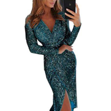 Zavinovací flitrové šaty FashionEU