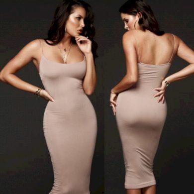 Dámské jednobarevné šaty - dlouhé FashionEU