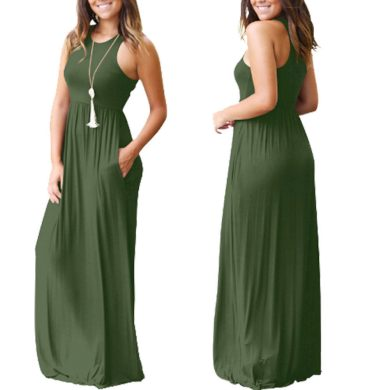 Dámské dlouhé šaty - jednobarevné FashionEU