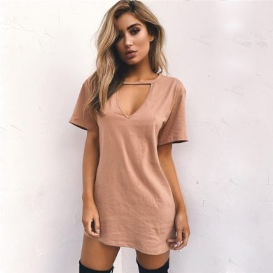 Jednobarevné mini šaty FashionEU